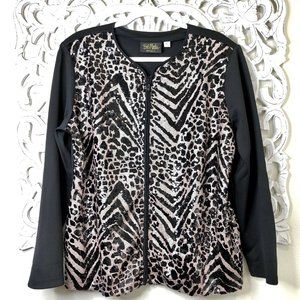 Bob Mackie Wearable Art Sequin Embellished Jacket